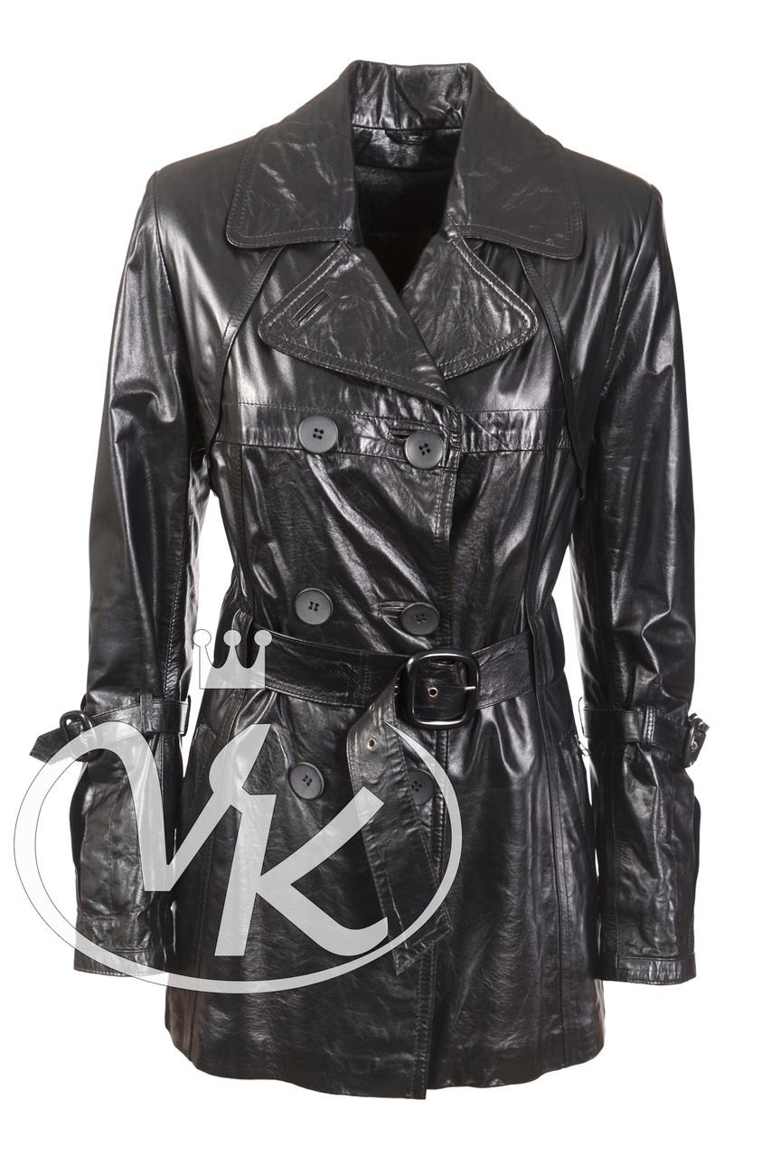 Длинная черная кожаная куртка (размер М) - Интернет магазин кожаных курток и дубленок VK-Fason в Виннице