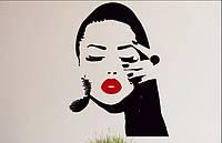 Виниловая наклейка- губы (перо) (от 65х50 см)