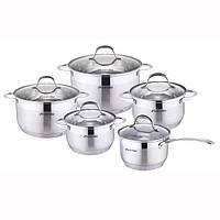 Набор посуды Kamille из нержавеющей стали 4710s ковш 1.8л; кастрюли 1.8л, 2.3л, 3.3л, 5.5л