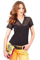 Черная футболка женская летняя нарядная с коротким рукавом с гипюром хлопок стрейч (Украина)