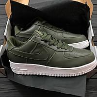 Кроссовки Air Force 1 Low leather green. Живое фото. ТОП качество! (аир форсы, найки эир форсы)