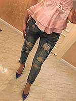 Модные женские джинсы (фабричный Китай, с прорезями и потертостями)