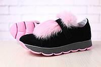 Женские слипоны, из натуральной замши, черные, с натуральным мехом кролика, на серо-розовой подошве
