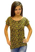 Футболка туника женская  летняя легкая удлиненная трикотажная леопардовая вискоза (Украина)