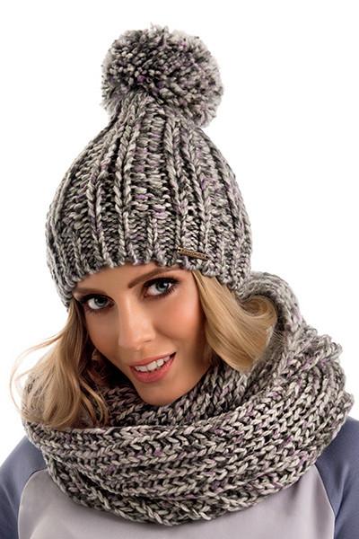 Двойная разноцветная женская шапка с помпоном Jowita Польша.