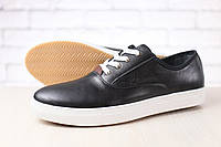 Мужские кеды-мокасины, из натуральной кожи, черные, на белой подошве, на шнурках