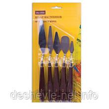 Набор мастихинов 5 шт. , ручка окрашенная, темная