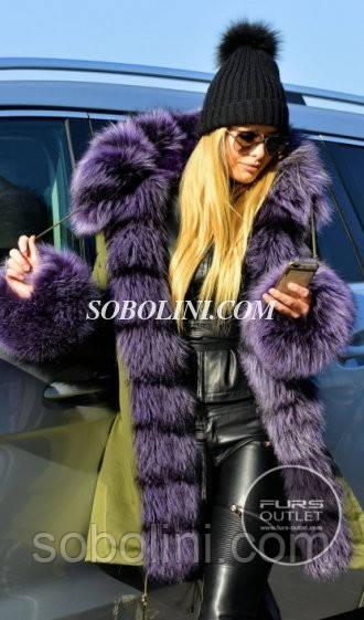 Парка хаки с шикарным мехом чернобурки ярко-фиолетового цвета