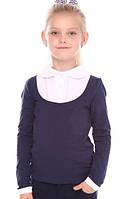 Трикотажная блуза-обманка для девочки VidOli, синий (р.128,134,140)