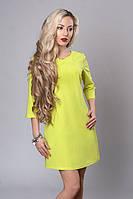 Яркое лимонное платье с рукавом 3/4 из итальянского трикотажа