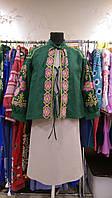 Бомбер вышиванка зеленый, вышивка салатово-розовая