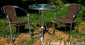 Кресло ALC-3110 алюминиевое с сиденьем из искусственного ротанга для летних открытых площадок кафе, фото 3