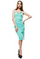Женское платье на тонких бретелях с глубоким открытым декольте Силина цвет ментол