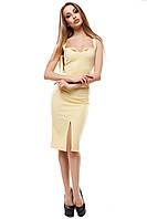 Женское платье на тонких бретелях с глубоким открытым декольте Силина цвет Желтый