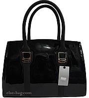 Женская сумка лаковая черного цвета, фото 1