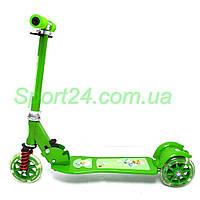 Трехколесный самокат для детей Scooter Color, зеленый