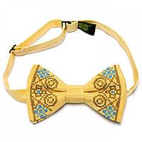 Вышитая бабочка (галстук). Желтая.