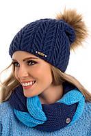 Красивая вязаная женская шапка с меховым помпоном Debbie Pawonex Польша.