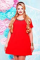 Женское батальное коралловое платье Маркиза Lenida 50-60 размеры