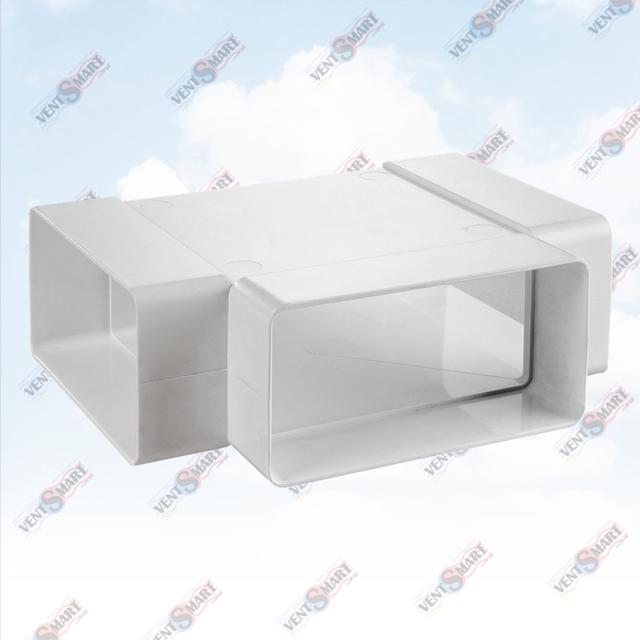 Внешний вид тройника (Т-соединителя) для плоских воздуховодов (пластиковых труб для вентиляции) ПЛАСТИВЕНТ производства ВЕНТС (Украина)