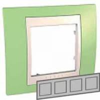 Рамка 4-местная горизонтальная Unica Plus (зеленое яблоко/слоновая кость)