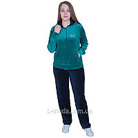 Спортивный костюм женский велюровый с капюшоном зеленый, фото 1