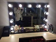 Зеркало в цвете венге, с лампочками и полочкой