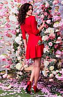 Платье приталенное средней длины красное черное фиолетовое