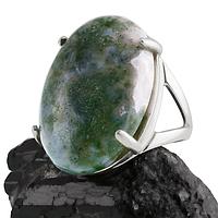 Агат моховый, серебро 925, кольцо, 350КА