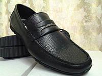 Стильные мужские чёрные мокасины Bertoni