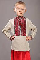 Детская вышитая рубашка для мальчика, красно-черная, длинный рукав. лен