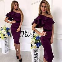 Платье миди с поясом в цветах 12511