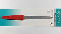 Пилка для ногтей металлическая Zinger, красная  ручка.