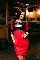 Платье из экокожи с карманами красное, темно-зеленое, графитовое