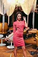Платье выше колена с пуговицами фрезовое