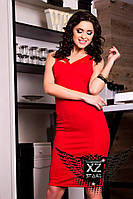 Элегантное платье по колено красное