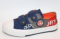 Модные яркие стильные кеды для мальчиков сине-оранжевые джинс р.34,35 на липучках, маломерят