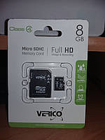 Карта памяти Verico MicroSDHC 8GB Class 4+SD adapter