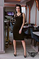 Элегантное платье по колено черное, электрик