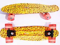 """Скейт Пенни борд Penny board Explore оригинал 22"""" Leopard светящиеся колеса"""