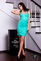 Обтягивающее платье выше колена красное, синее, ментоловое, электрик
