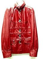 Кожаная женская куртка красная кроко .