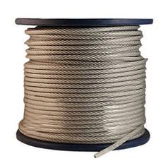 Канат стальной ПВХ 1.5/2.5 мм (трос оцинкованный в оплётке)