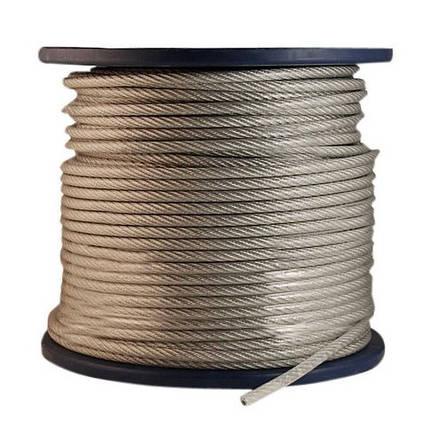 Канат стальной ПВХ 3/4 мм (трос оцинкованный в оплётке), фото 2