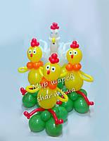 Курочка и цыплята из воздушных шаров
