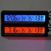 Автомобильные часы с термометром и вольтметром AUTO 3in1
