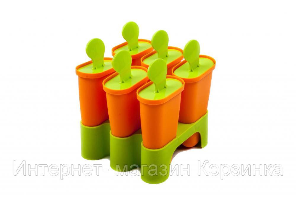 Форма для мороженого (с подставкой, материал пластмасса, высота 11 см, 6 отделений в форме.