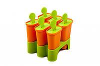 Форма для мороженого (с подставкой, материал пластмасса, высота 11 см, 6 отделений в форме, цвет оранжевый, са