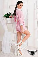 Легкий комбинезон с поясом розовый