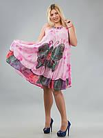 Сарафан-разлетайка розовый с бабочкой, на 48-64 размеры